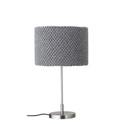 Lampe de table / Tricot - H 62 cm - Bloomingville gris,chromé en tissu