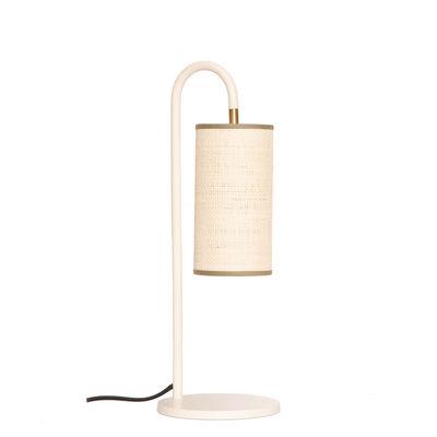 Luminaire - Lampes de table - Lampe de table Tokyo / Rabane - H 43 cm - Maison Sarah Lavoine - Rabane naturelle / Blanc - Acier thermolaqué, Rabane
