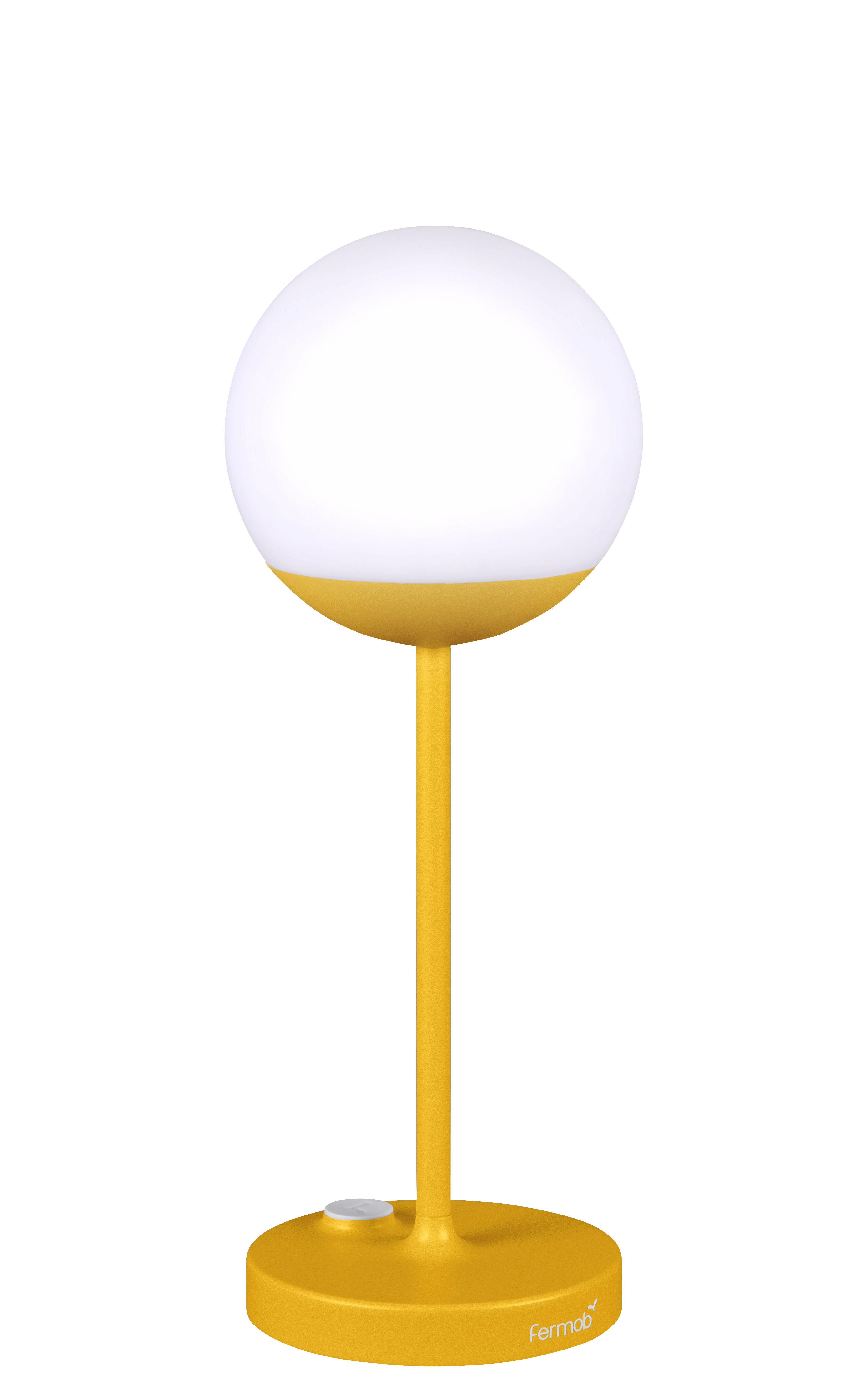 Leuchten - Tischleuchten - Mooon! LED Lampe ohne Kabel / H 41 cm - mit USB-Ladekabel - Fermob - Honig - Aluminium, Polyäthylen