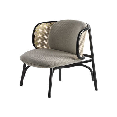 Furniture - Armchairs - Suzenne Low armchair - / Caning & fabric by Wiener GTV Design - Beige fabric / Black & natural - Curved solid beechwood, Kvadrat fabric, Polyurethane foam, Straw
