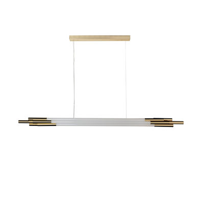 Lighting - Pendant Lighting - ORG Horizontal Medium Pendant - / LED - L 160 cm / Glass by DCW éditions - L 160 cm / White & brass - Anodized aluminium, Opal Glass