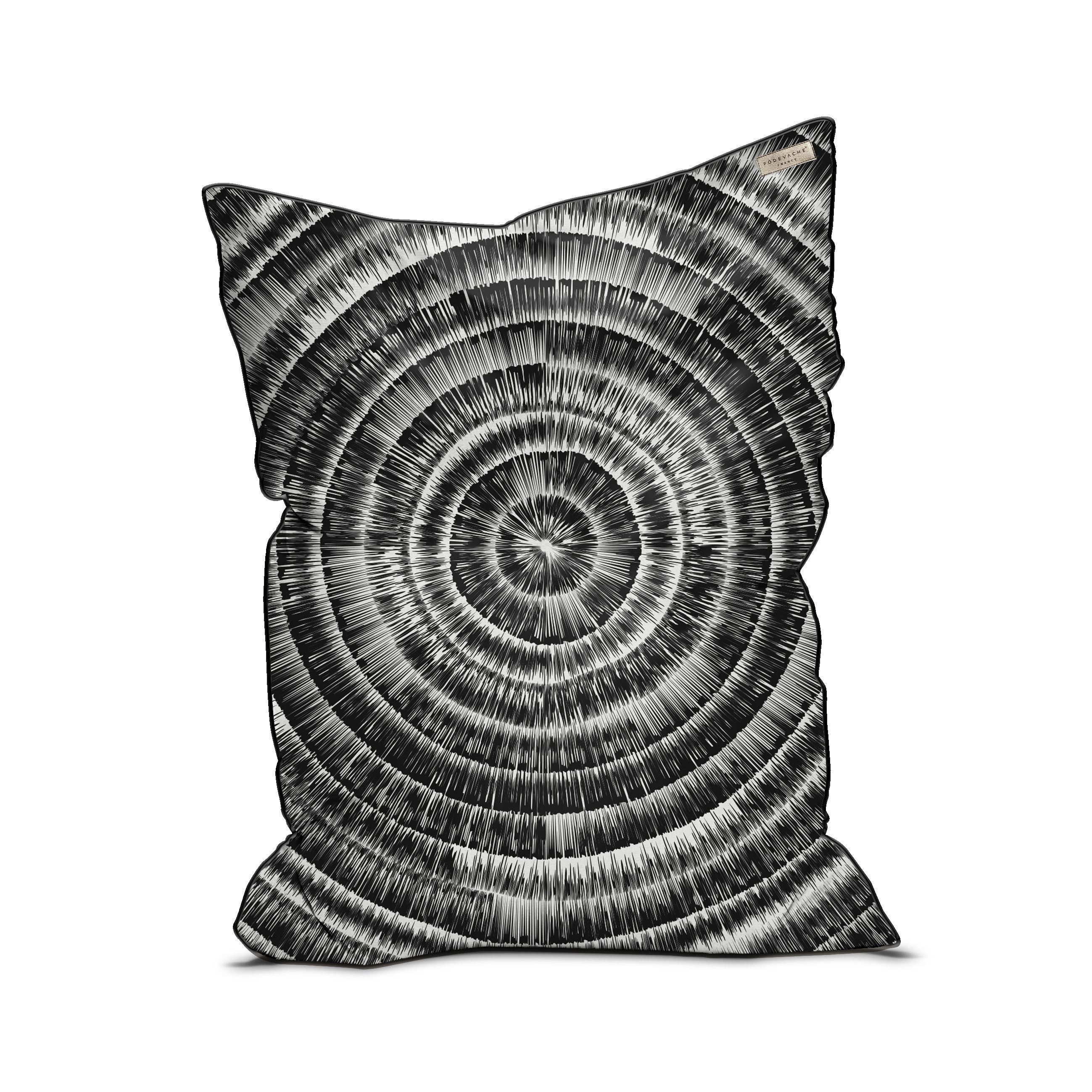 Furniture - Poufs & Floor Cushions - Spirale Pouf - / Velvet - 115 x 145 cm by PÔDEVACHE - Black & grey - EPS balls, Fabric, Velvet
