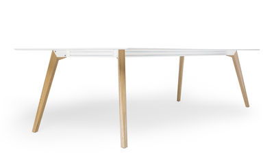 Rectangular Table Bevel By Icf White Natural Wood Made