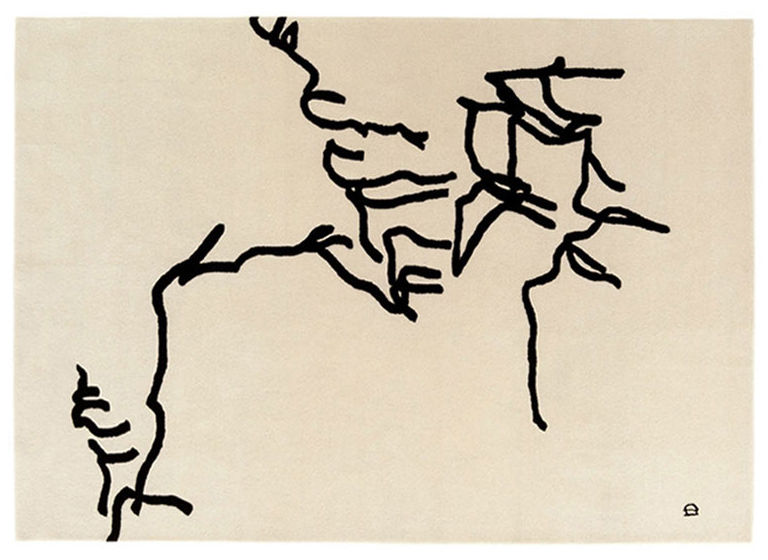 Furniture - Carpets - Chillida - Dibujo Tinta Rug - 1957 - 178 x 240 cm by Nanimarquina - Dibujo Tinta - Beige & black - Wool