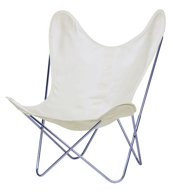 Möbel - Lounge Sessel - AA Butterfly Sessel Stoff / Gestell chrom-glänzend - AA-New Design - Gestell chrom-glänzend / Bezug Natur - Leinen, verchromter Stahl