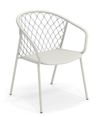 Nef Sessel / Métal und Polyester - Emu - Weiß,Hellgrau