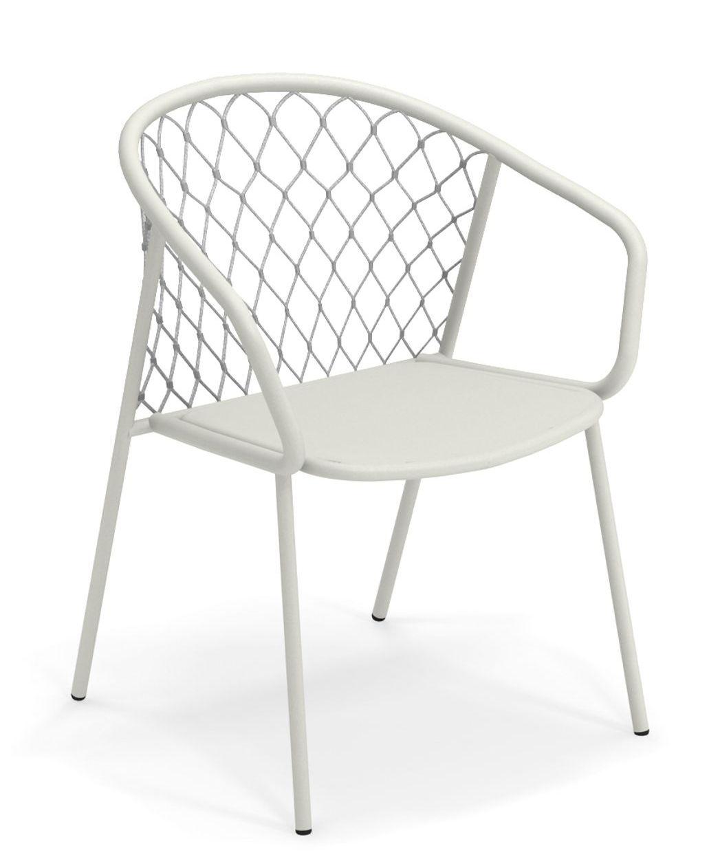 Möbel - Stühle  - Nef Sessel / Métal und Polyester - Emu - Sessel / Weiß und graue Rückenlehne - klarlackbeschichtetes Aluminium, Kunststoffseile