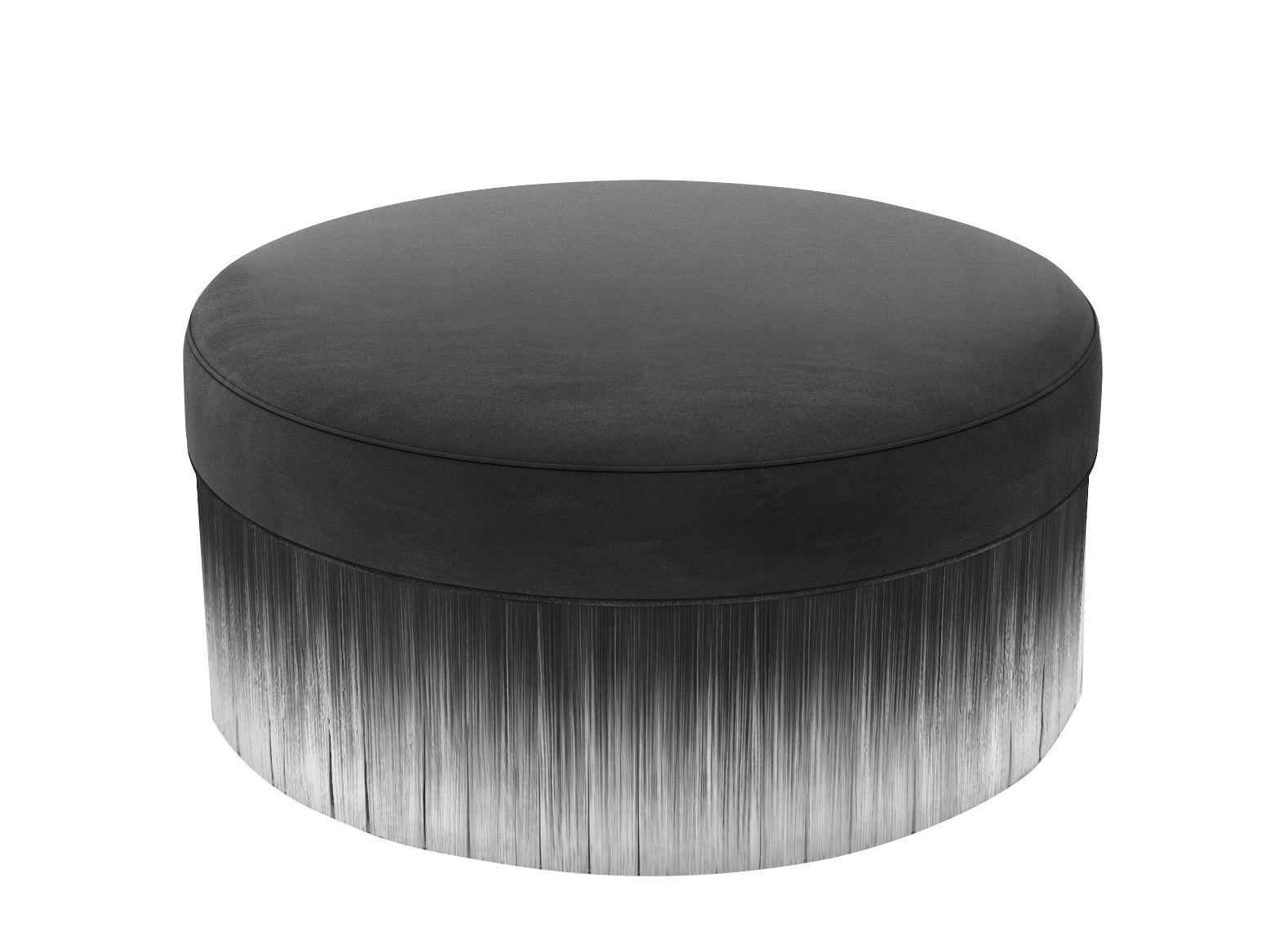 Möbel - Sitzkissen - Amami Sitzkissen / Ø 50 cm - Velours und Fransen - Moooi - Ø 50 cm / dunkelgrau - Holz, Schaumstoff, Velours