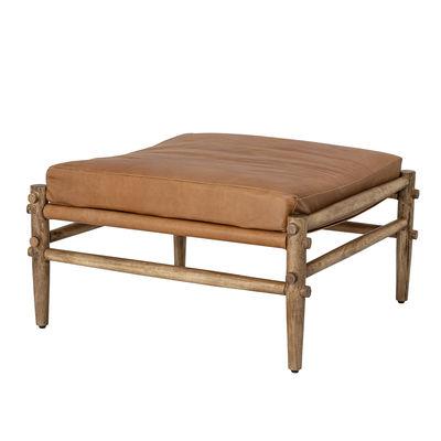 Möbel - Sitzkissen - Aysia Sitzkissen / Holz & Leder - Bloomingville - Naturfarbenes Leder / Holz - Büffelleder, Mangobaum, Schaumstoff