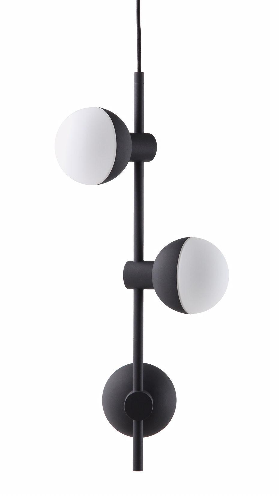 Illuminazione - Lampadari - Sospensione Fabian - / 3 spot verticali - H 62 cm di Frandsen - Nero opaco - metallo verniciato, Vetro