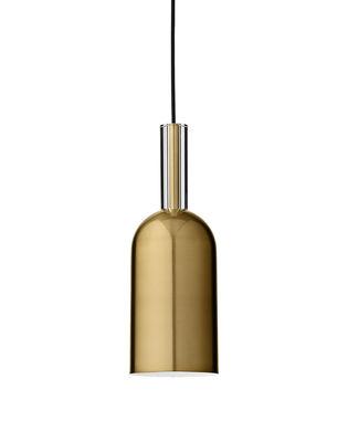 Illuminazione - Lampadari - Sospensione Luceo Cylindre - / Ø 12 x H 35 cm - Metallo & vetro di AYTM - Or - Fer plaqué laiton, Vetro