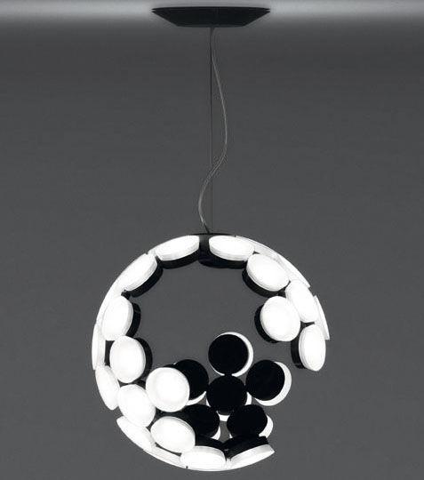 Illuminazione - Lampadari - Sospensione Scopas LED di Artemide - Bianco / Interno nero - Alluminio, Termoplastica