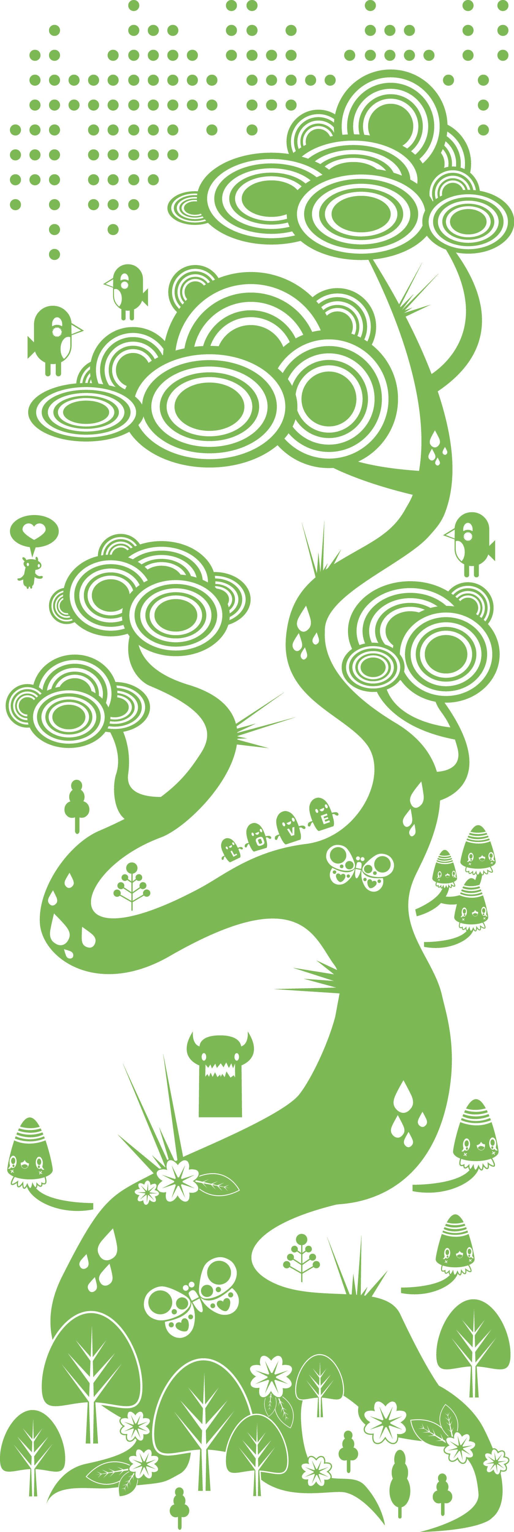 Dekoration - Stickers und Tapeten - Flora and Fauna 1 Green Sticker - Domestic - Grün - Vinyl