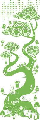 Déco - Stickers, papiers peints & posters - Sticker Flora and Fauna 1 Green - Domestic - Vert - Vinyle