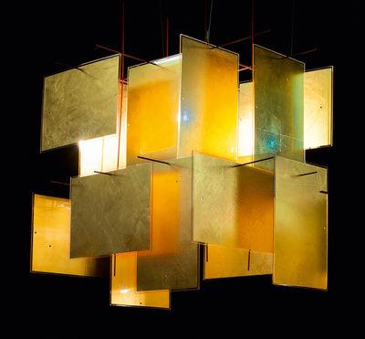 Luminaire - Suspensions - Suspension 1000 Karat Blau / Feuille d'or - 64 x 64 cm - Ingo Maurer - Or & rouge - Feuille d'or, Matière plastique, Métal laqué