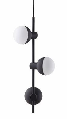 Luminaire - Suspensions - Suspension Fabian / 3 spots verticaux - H 62 cm - Frandsen - Noir mat - Métal peint, Verre