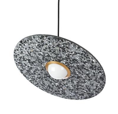 Suspension Terrazzo Planet / Disque inclinable - XL Boom noir,laiton en pierre