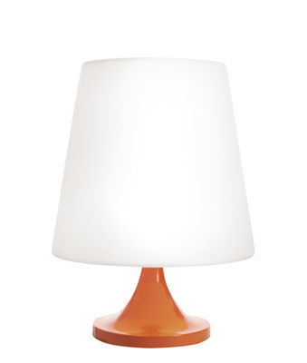 Lighting - Table Lamps - Ali Baba Table lamp - / Ø 43 x H 60 cm by Slide - White & orange - Lacquered aluminium, Recyclable polyethylene