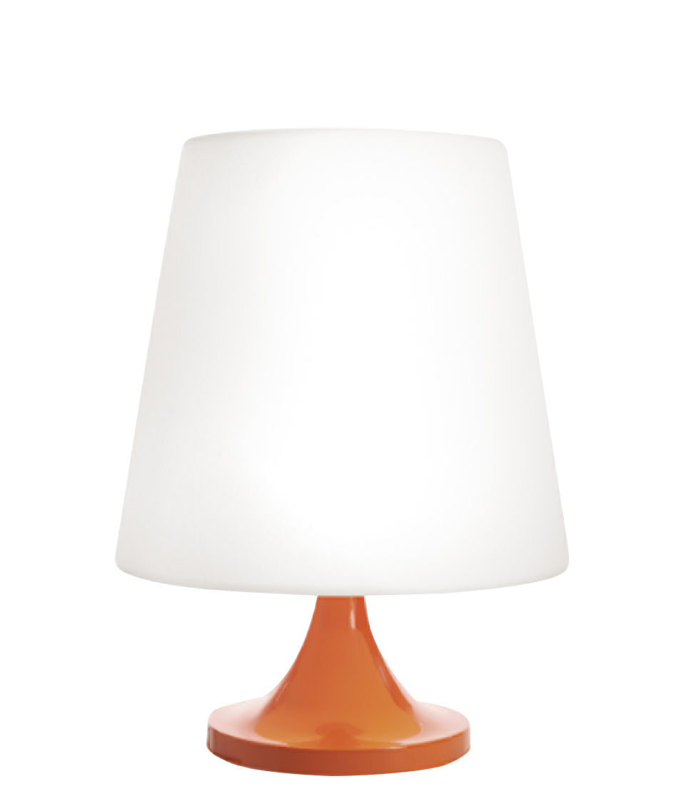 Lighting - Table Lamps - Ali Baba Table lamp - / Ø 43 x H 60 cm by Slide - White & orange - Lacquered aluminium, Polyéthylène recyclable