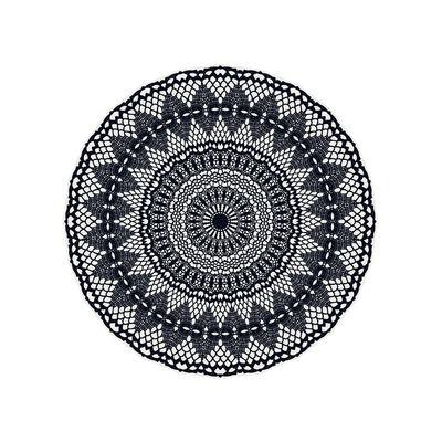 Outdoor - Decorazioni e accessori - Tappeto Black Bombay n°3 - / Ø 99 cm - Vinile di PÔDEVACHE - Bombay / n° 3 / Blu marino & bianco - Vinile