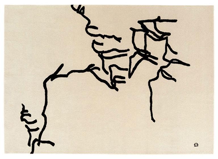 Arredamento - Tappeti  - Tappeto Chillida - Dibujo Tinta - 1957 - 178 x 240 cm di Nanimarquina - Dibujo Tinta - Beige & nero - Lana