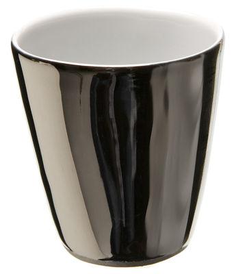 Tischkultur - Tassen und Becher - Assoiffés Tasse - Tsé-Tsé - Innen weiß - außen platinfarben emailliert - Porzellan