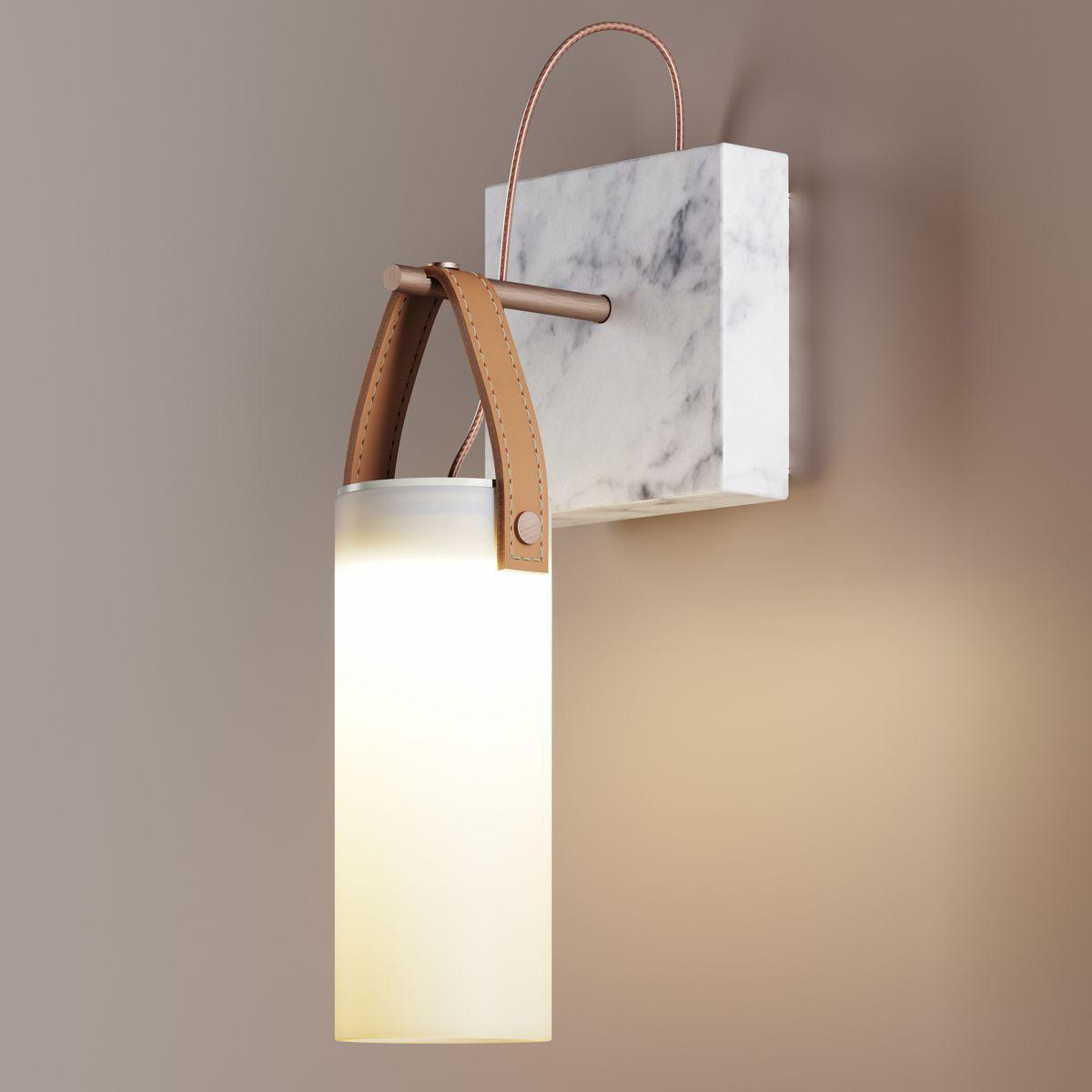 Luminaire - Appliques - Applique Galerie LED / Marbre & verre - Fontana Arte - Bronze & blanc - Cuir naturel, Marbre, Métal brossé, Verre soufflé
