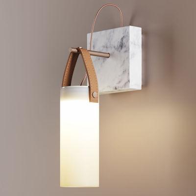 Illuminazione - Lampade da parete - Applique Galerie LED - / marmo & Vetro di Fontana Arte - Bronzo & bianco - Cuoio naturale, Marmo, Metallo spazzolato, vetro soffiato