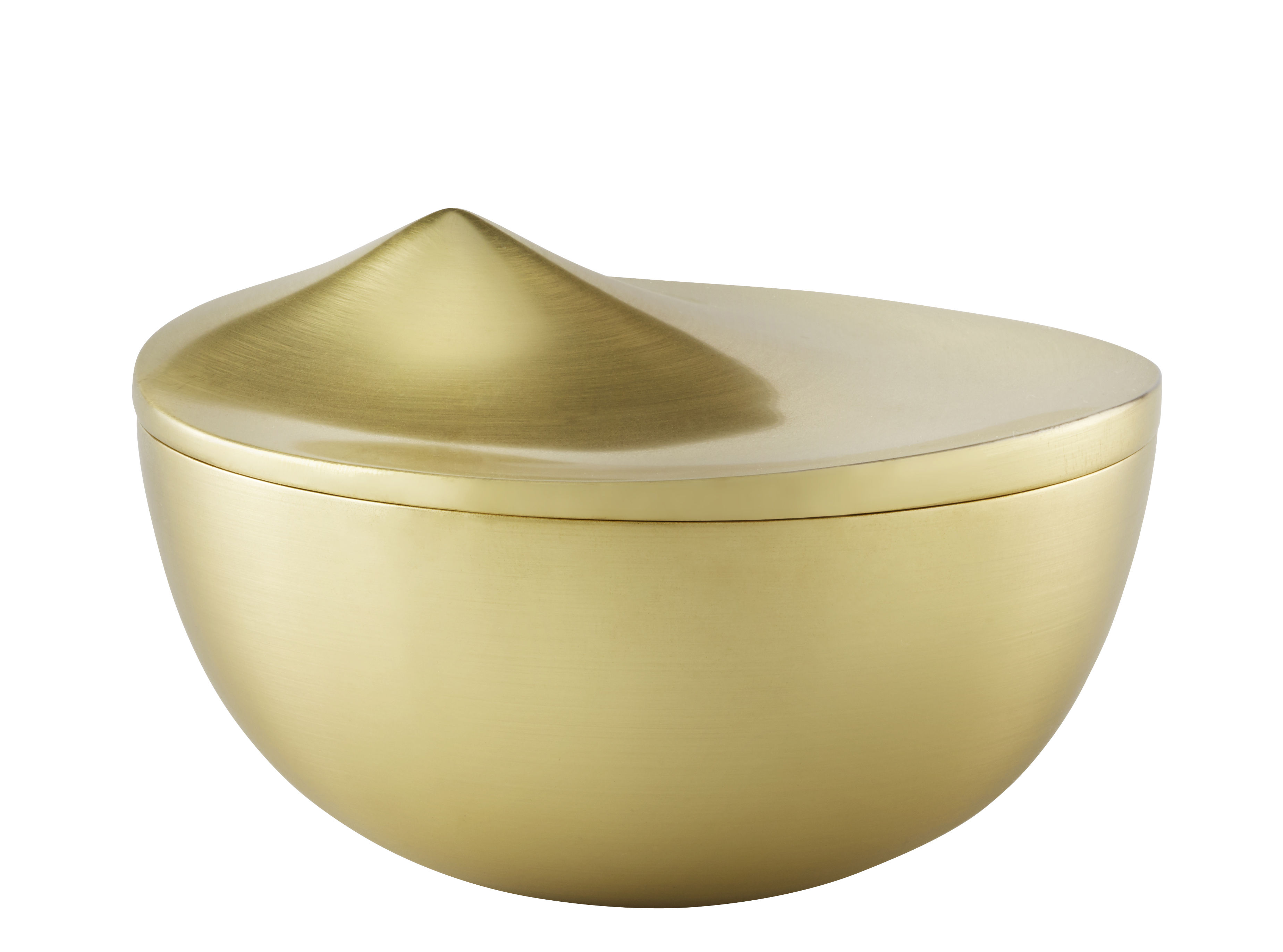 Cuisine - Boîtes, pots et bocaux - Boîte Peak Small / Ø 12 cm - Métal - Stelton - Laiton brossé - Aluminium plaqué laiton brossé