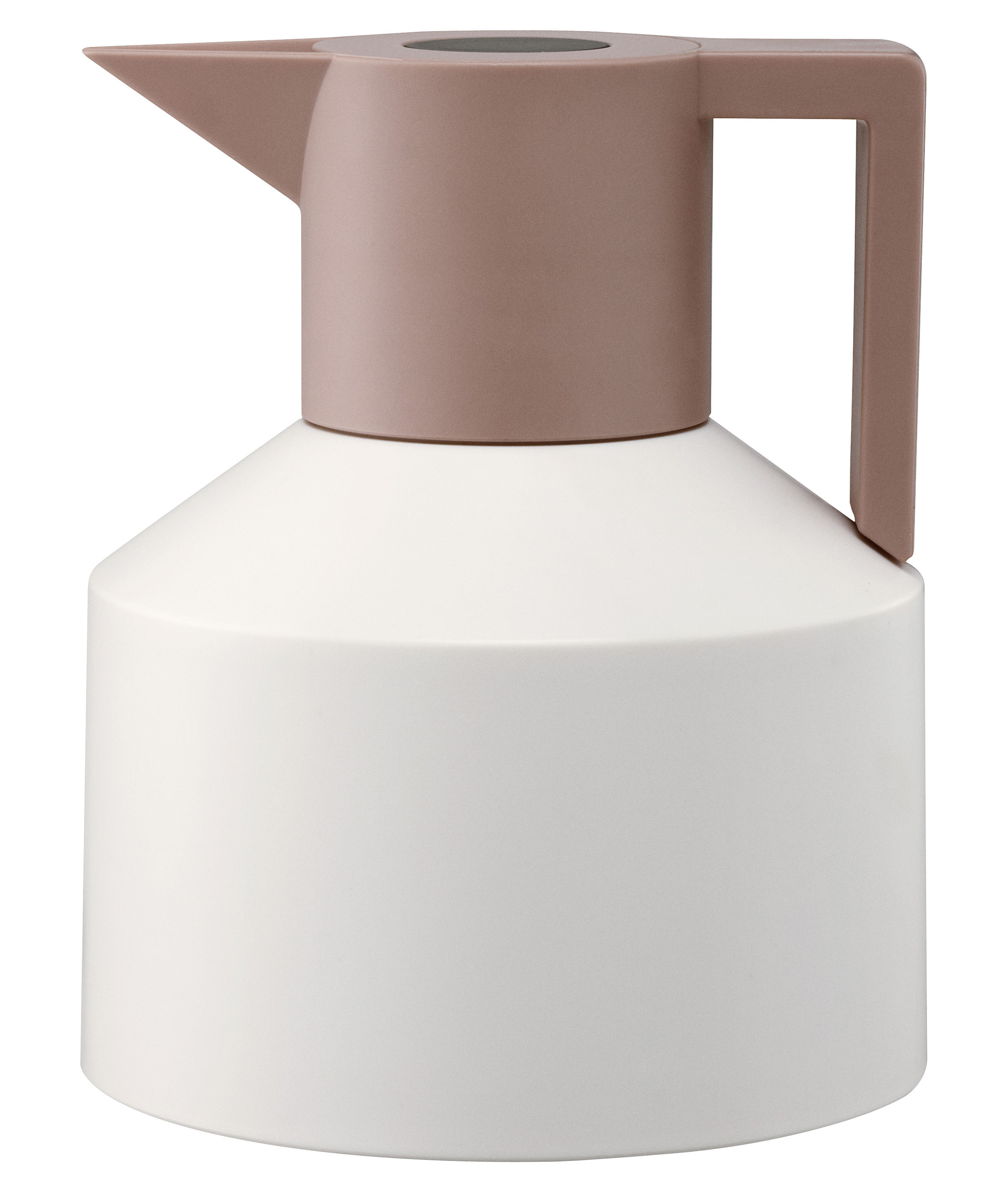 Tavola - Caffè - Brocca isotermica Geo di Normann Copenhagen - Bianco / Corallo con tasto nero - Plastica