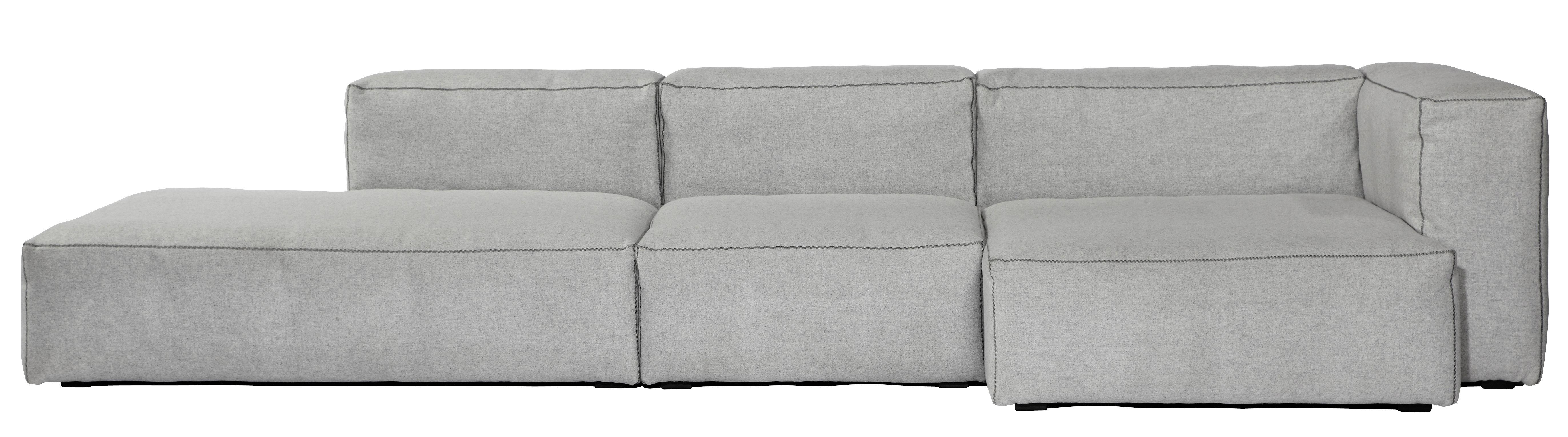 Mobilier - Canapés - Canapé d'angle Soft Mags / L 302 cm - Accoudoir droit - Hay - Gris clair /  Accoudoir droit - Mousse super soft, Panneaux de particules, Plumes d'oie, Tissu Kvadrat