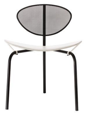 Mobilier - Chaises, fauteuils de salle à manger - Chaise Nagasaki / Matégot - Réédition 1954 - Gubi - Blanc / Structure noire - Acier inoxydable