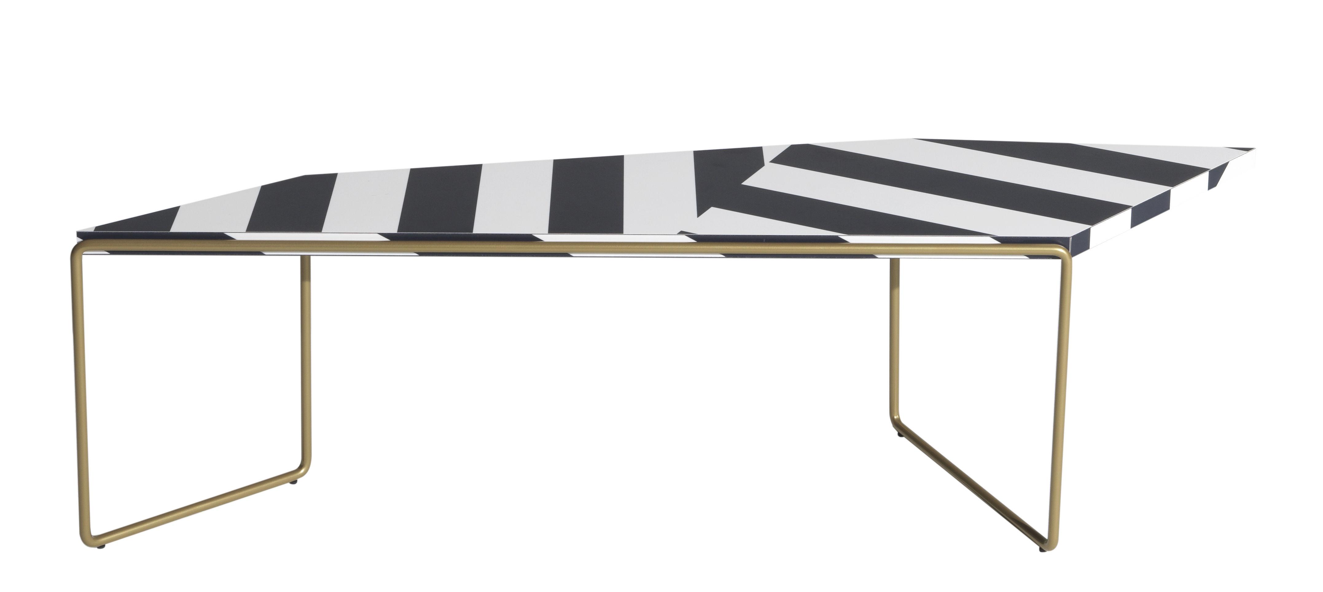 Furniture - Coffee Tables - Zagazig Coffee table - / 119 x 36 cm x H 38 cm by Driade - Black stripes - HPL, Steel