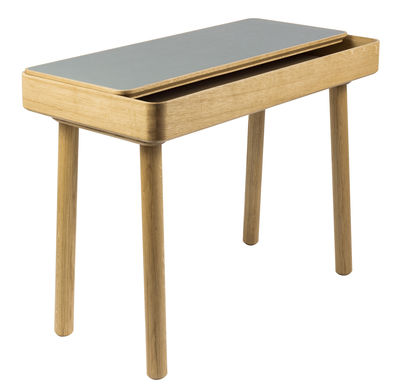 Furniture - Office Furniture - Avio Desk - / Oak & linoleum by Internoitaliano - Grey linoleum / Oak - Linoleum, Solid oak