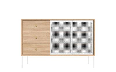 Furniture - Dressers & Storage Units - Gabin Dresser - / Height - 3 draws - L 80 cm - Metal / Exclusive colour by Hartô - White & Oak - Brass, MDF veneer oak, Painted wood, Perforated metal