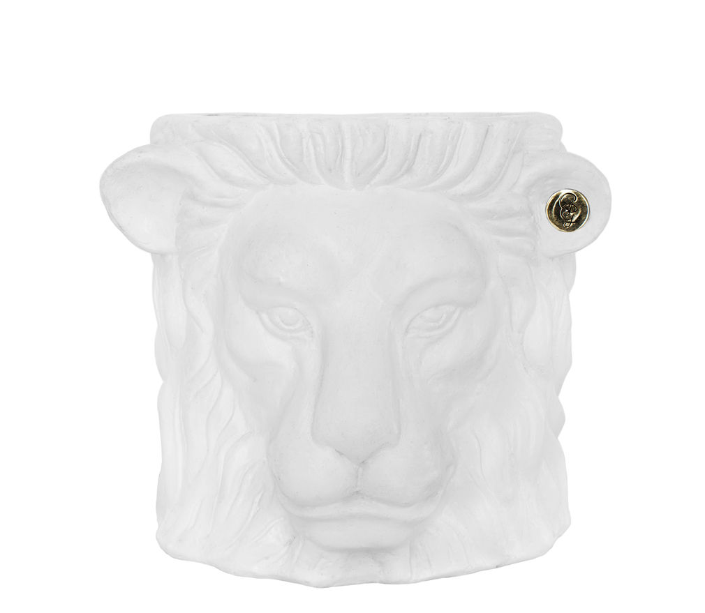 Decoration - Flower Pots & House Plants - Lion Small Flowerpot - / Indoor - h 21 cm by Garden Glory - White & brass - Brass, Painted terracotta