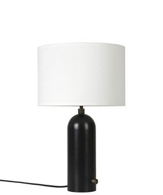 Luminaire - Lampes de table - Lampe de table Gravity / Small - Ø 30 x H 49 cm - Gubi - Acier noir / Abat-jour blanc - Acier, Tissu