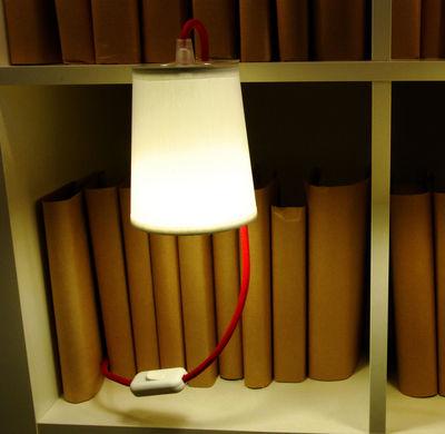 Luminaire - Lampes de table - Lampe Light Book pour étagères et bibliothèques - Designheure - Blanc - Acier thermolaqué, Percaline de coton
