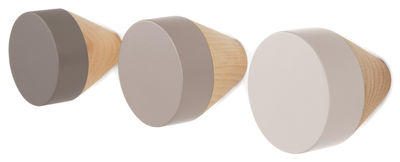 Mobilier - Portemanteaux, patères & portants - Patère Clou / Set de 3 - ENOstudio - Gris clair / Gris moyen / Gris foncé - Hêtre naturel, Hêtre peint