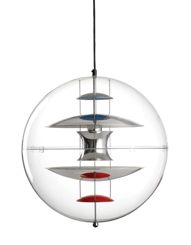 Leuchten - Pendelleuchten - VP Globe Pendelleuchte Ø 40 cm - Panton 1969 - Verpan - Ø 40 cm - Transparent - Reflektoren verchromt - teilweise rot, blau, weiß lackiert - Aluminium, Polyacryl