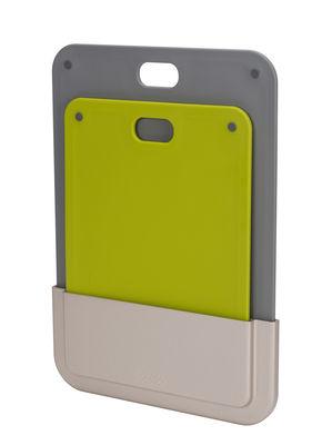 Planche à découper DoorStore / Set 2 planches + support adhésif - Joseph Joseph gris,vert en matière plastique