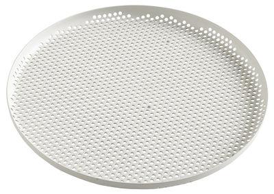 Plateau perforated / Large - Ø 35 cm - Hay gris clair en métal