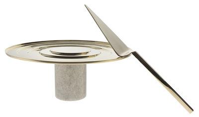 Arts de la table - Plats - Plateau Stone - Tom Dixon - Doré / Marbre blanc - Laiton