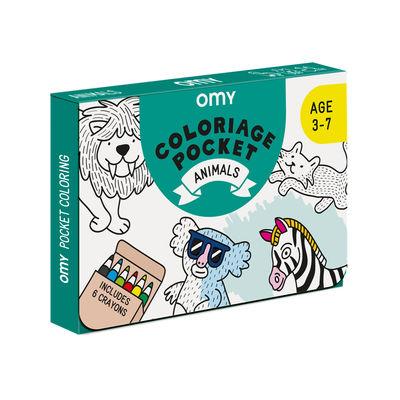 Poster à colorier Coloriage Pocket - Animaux / 52 x 38 cm - OMY Design & Play blanc/noir en papier