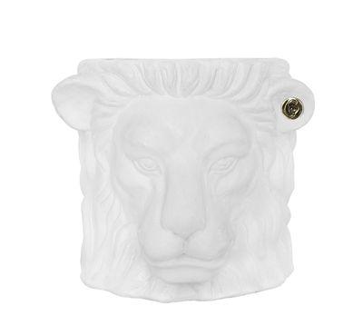 Déco - Pots et plantes - Pot de fleurs Lion Small / Indoor - H 21 cm - Garden Glory - Blanc & laiton - Laiton, Terre cuite peinte