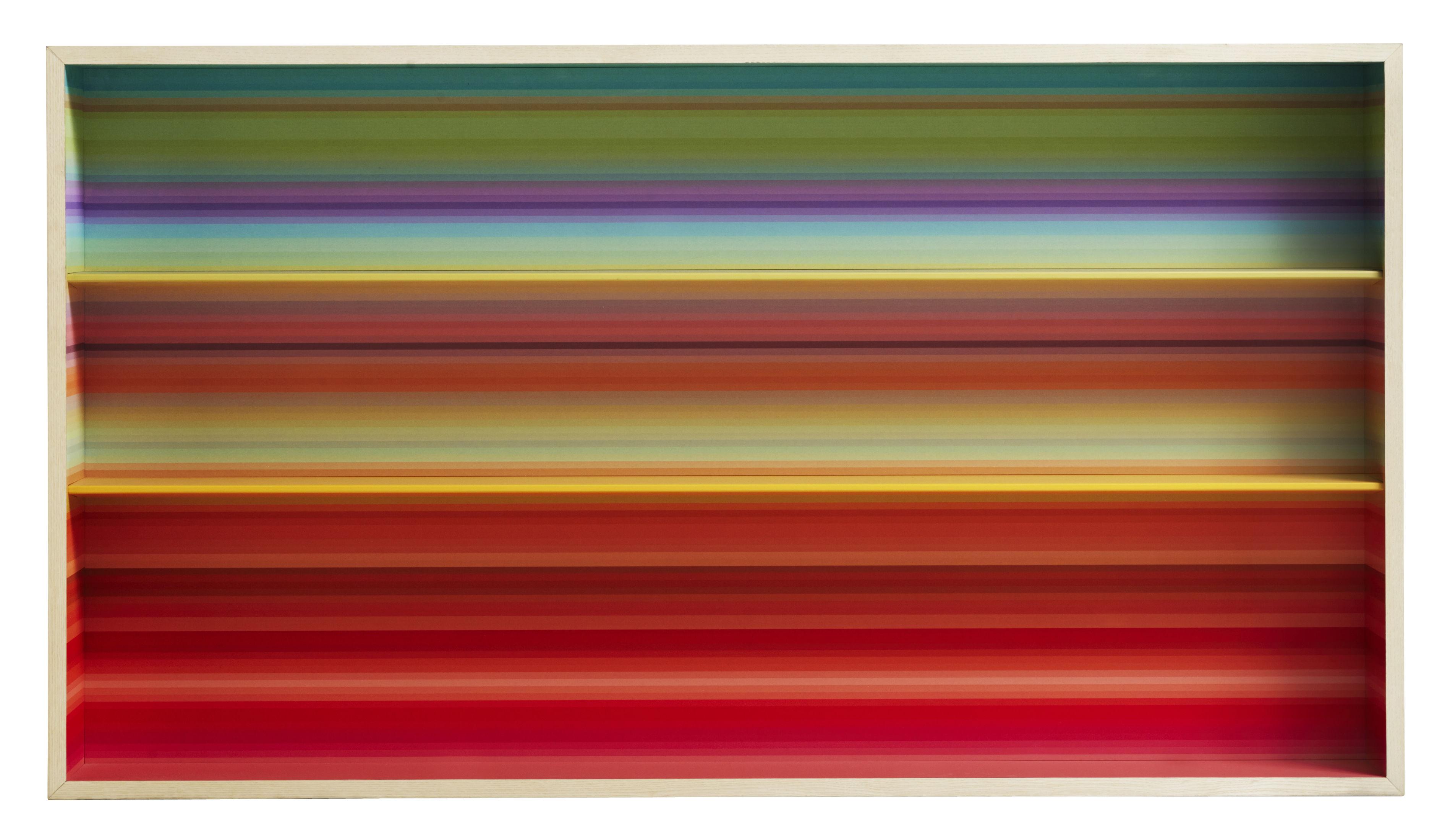 Möbel - Regale und Bücherregale - Color Fall Regal / L 135 x H 75 cm - Casamania - Helles Holz / Innenseite mehrfarbig - Melamin