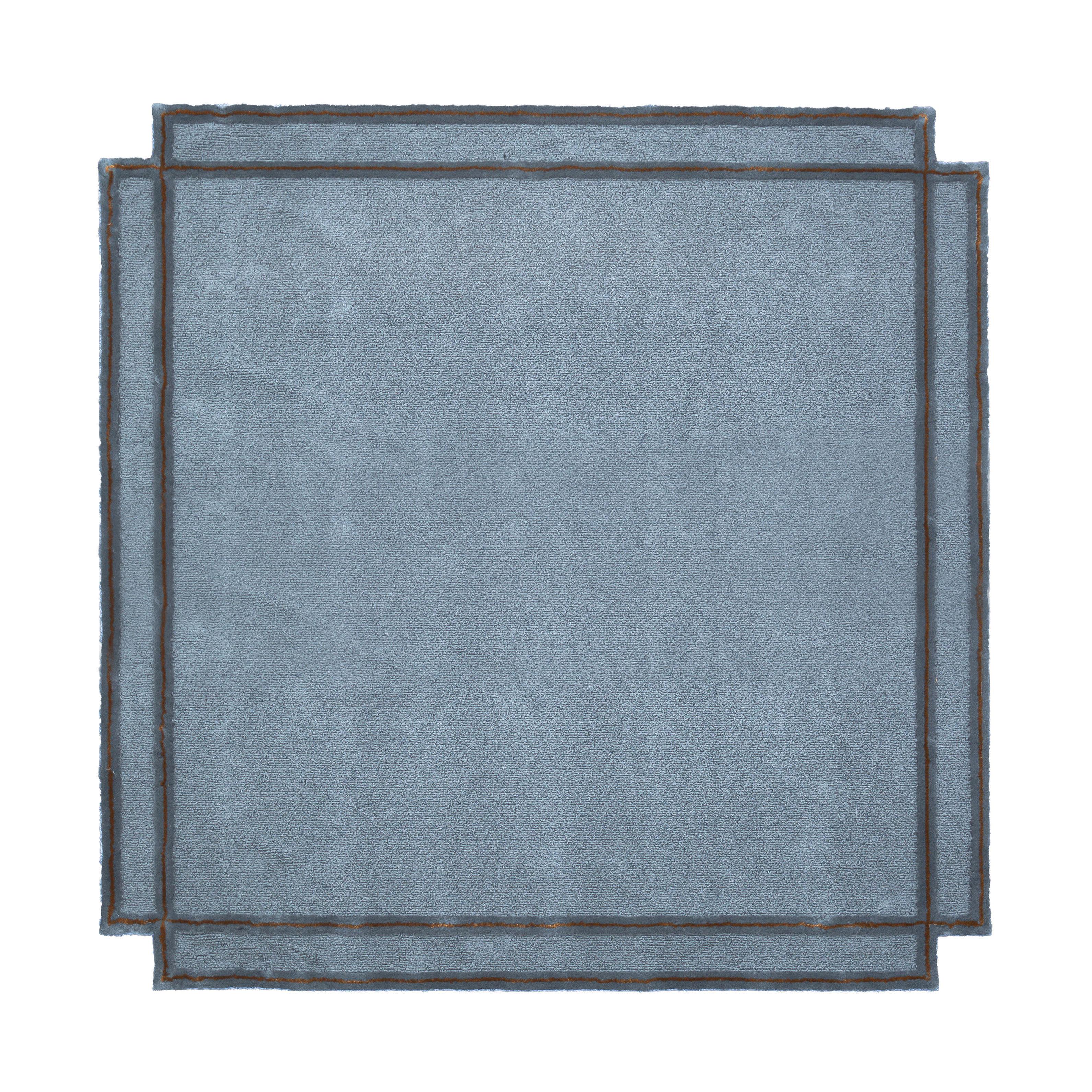 Decoration - Rugs - Volentieri Cornice Rug - / by Inga Sempé - 240 x 240 cm by Magis - Cold grey - Linen, Viscose