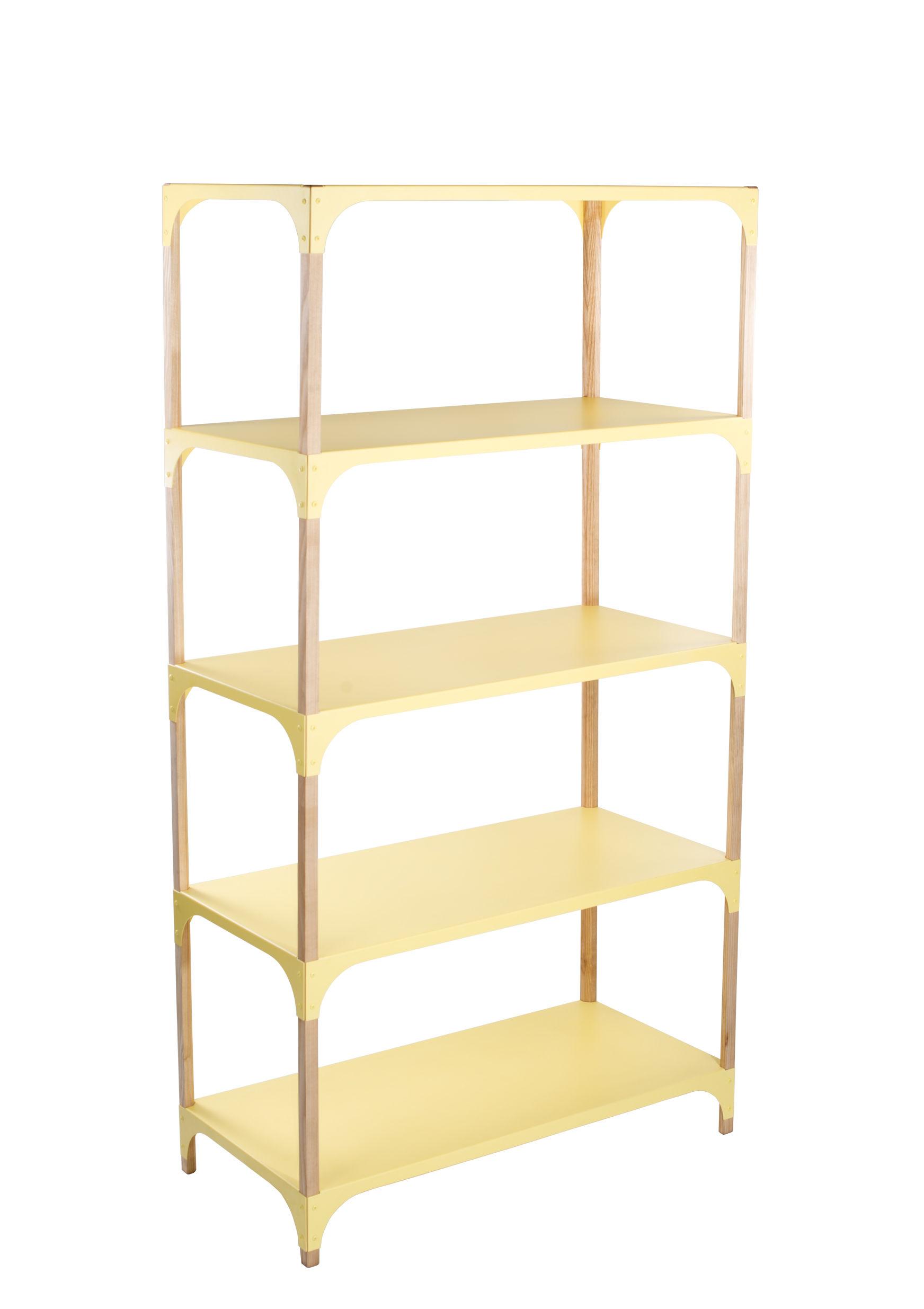 Furniture - Bookcases & Bookshelves - Pop-Up Shelf - / L 85 x H 160 cm by Bibelo - Yellow / Ash - Ashwood, Metal