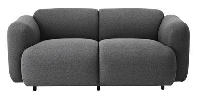 Möbel - Sofas - Swell Sofa / L 167 cm - 2-Sitzer - Normann Copenhagen - Grau - Gewebe, Holz, Schaumstoff