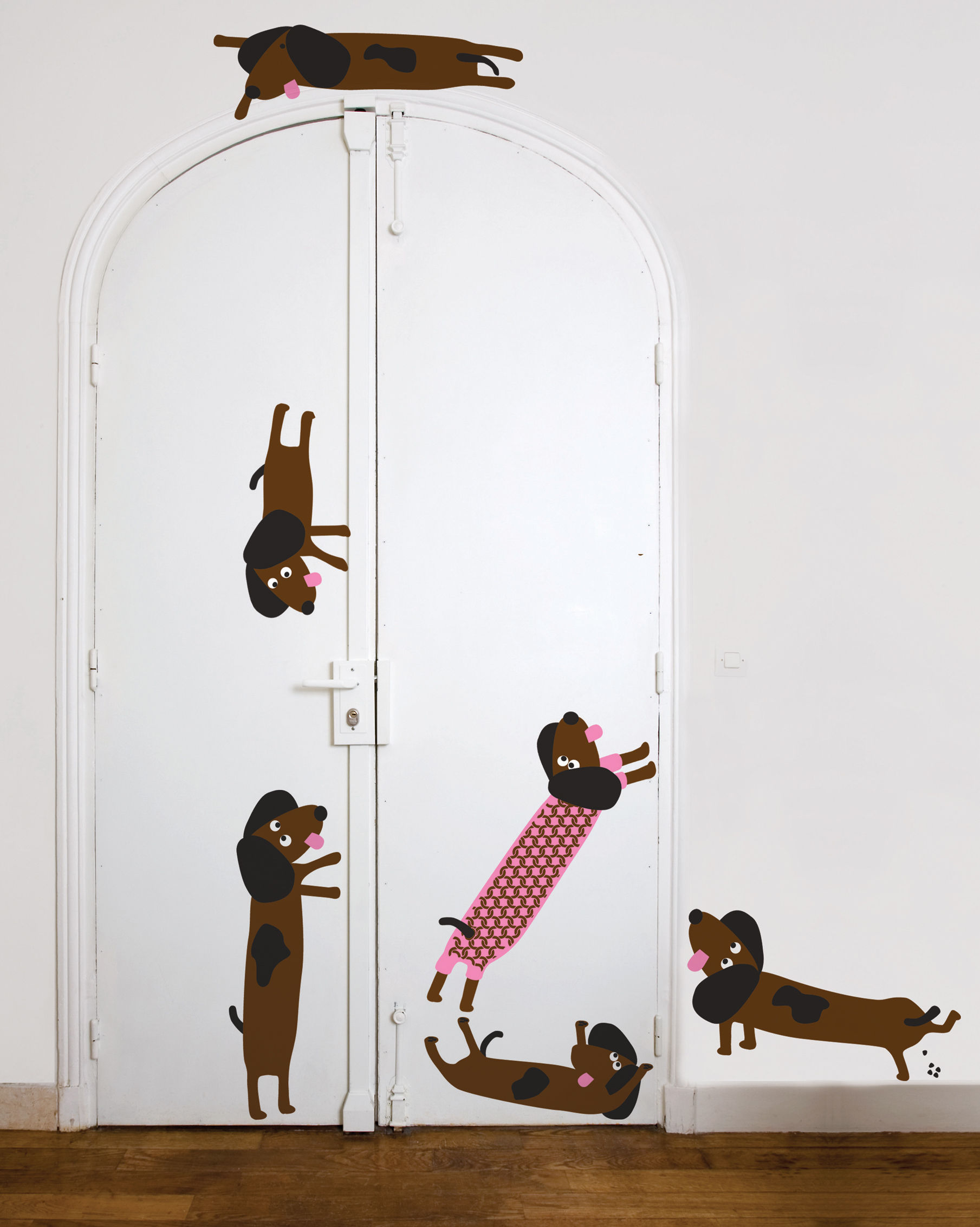 Decoration - Wallpaper & Wall Stickers - Dog en kit 2 Sticker by Domestic - Brown / grey / pink - Vinal